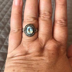 JTV Blue Topaz Black Spinel Sterling Ring Sz 9